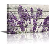 wall26 Rustic Home Art Canvas Wall Art - Retro Style Purple Lavender Flowers on Vintage Wood Background Modern Living Room/Be