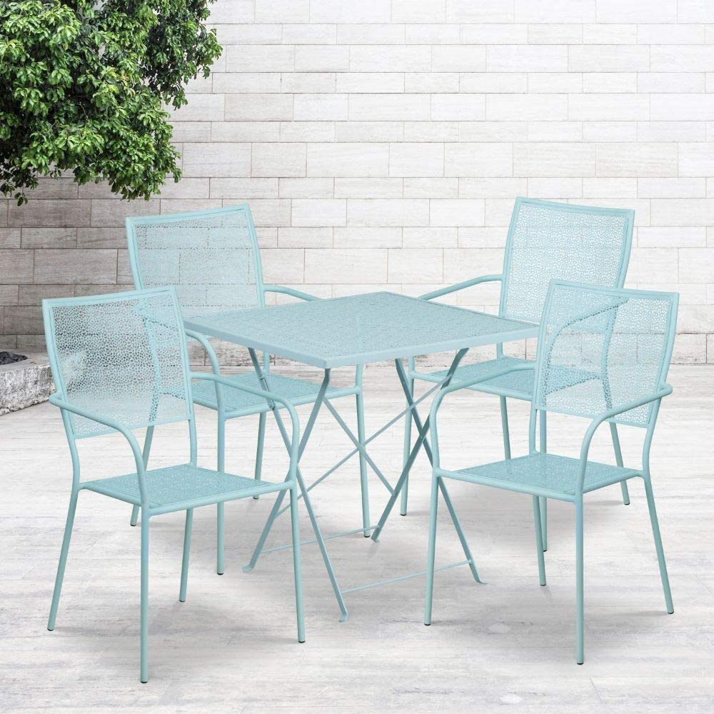 "Flash Furniture Commercial Grade 28"" Square Sky Blue Indoor-Outdoor Steel Folding Patio Table Set with 4 Square Back Chairs"