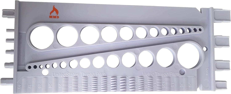 Gewinde MMD Schraubenschablone Mess-Werkzeug f/ür Zoll und Metrische Schrauben Muttern