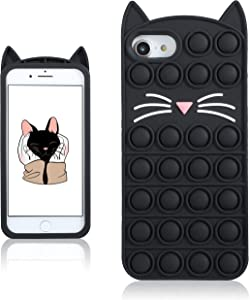 Coralogo Black Cat Case for iPhone 6/6S/7/8/SE 2020 Cartoon Funny Kawaii Cute Silicone Fun Cover Stylish Fidget Unique Design Aesthetic for Girls Boys Kids Cases(for iPhone 6/6S/7/8/SE 2020 4.7