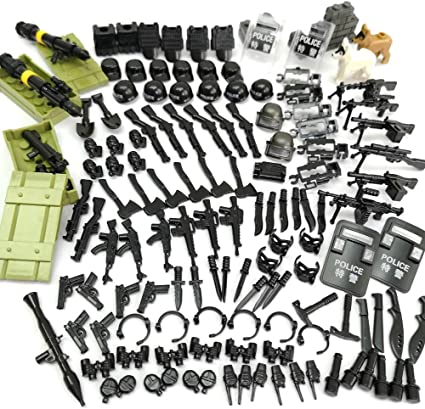 ZHX Military Weapons Accessories Army Series Swat Police Weapons Building Blocks for City Police Best Kids Gift Toys Compatible for Major Brand