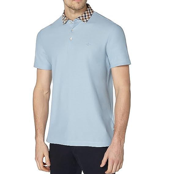 6e19e5edb Aquascutum Men`s Coniston Short Sleeves Polo Shirt - Sky Blue (Medium)