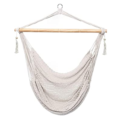 CCTRO Mesh Hammock Net Chair Swing, Hanging Rope Netted Soft Cotton Mayan Hammock Chair Swing Seat Porch Chair for Yard Bedroom Patio Porch Indoor Outdoor, 300 lbs Weight Capacity: Garden & Outdoor