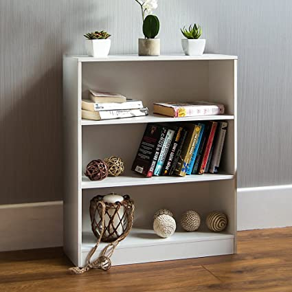 Vida Designs - Estantería Baja Cambridge de Madera de Roble Negra con 3 estantes, para Oficina o Sala de Estar