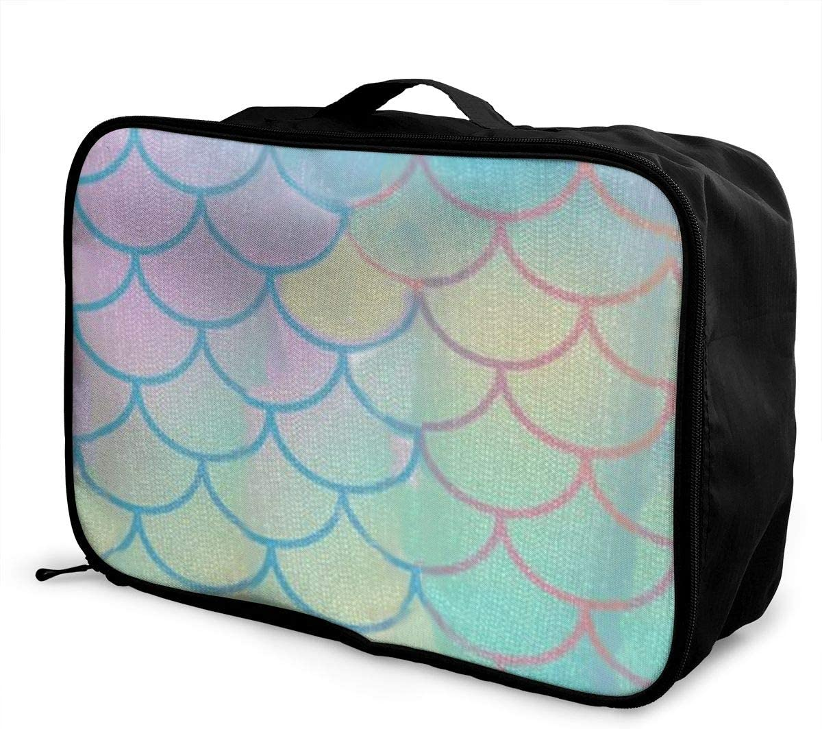 Gym Sports Waterproof Light Travel Bags Mermaid Tail Fish Interesting Mens And Womens Travel Folding Bags