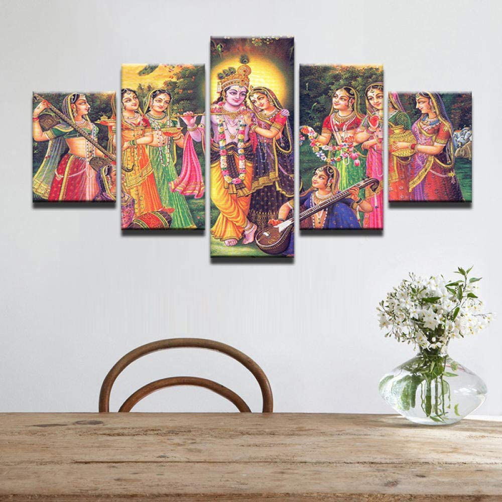 5 part panels 5 piece LHMTZ Five modules canvas painting 150*100CM Canvas Paintings Wall Art Modular Home Decor Living Room 5 Pieces India Myth Lord Krishna Posters Vishnu Pictures canvas picture