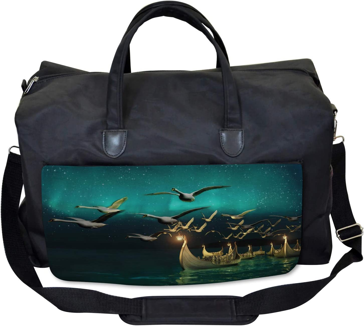 Ambesonne Black and White Gym Bag Fishing Boat Large Weekender Carry-on