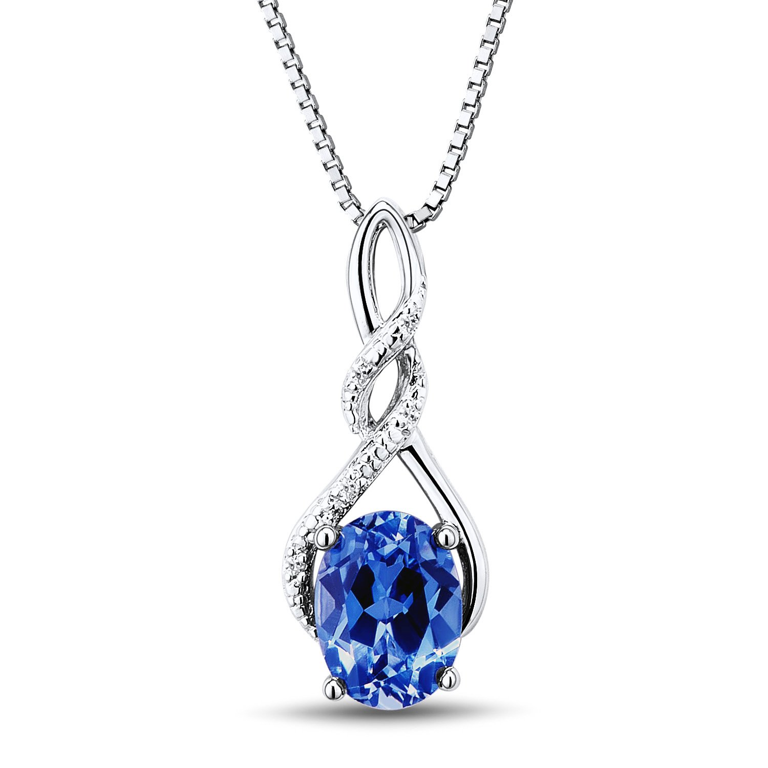 Amazon Lab Created Blue Sapphire Necklace Diamond Accents in
