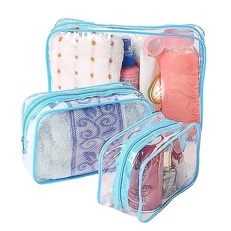 Lumanuby 3 neceseres impermeables PVC transparentes bolsos de higiene monederos para viajes maquillaje bolso para mujeres y hombres azul