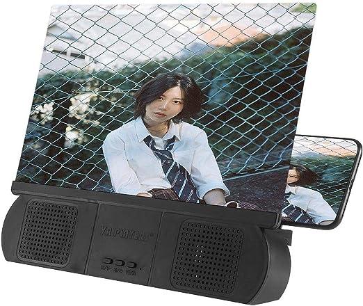 Volwco - Lupa de Pantalla de 10 Pulgadas con Altavoz, Lupa de Pantalla de teléfono 3D HD, Amplificador de películas, proyector de teléfono con Soporte Plegable para Todos los Smartphones: Amazon.es: Hogar