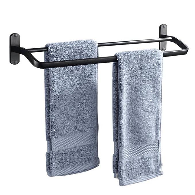 Aoligei Punzón Espacio Libre de Aluminio toallero Doble Barra Negro baño toallero baño Colgante de Metal 40cm: Amazon.es: Hogar