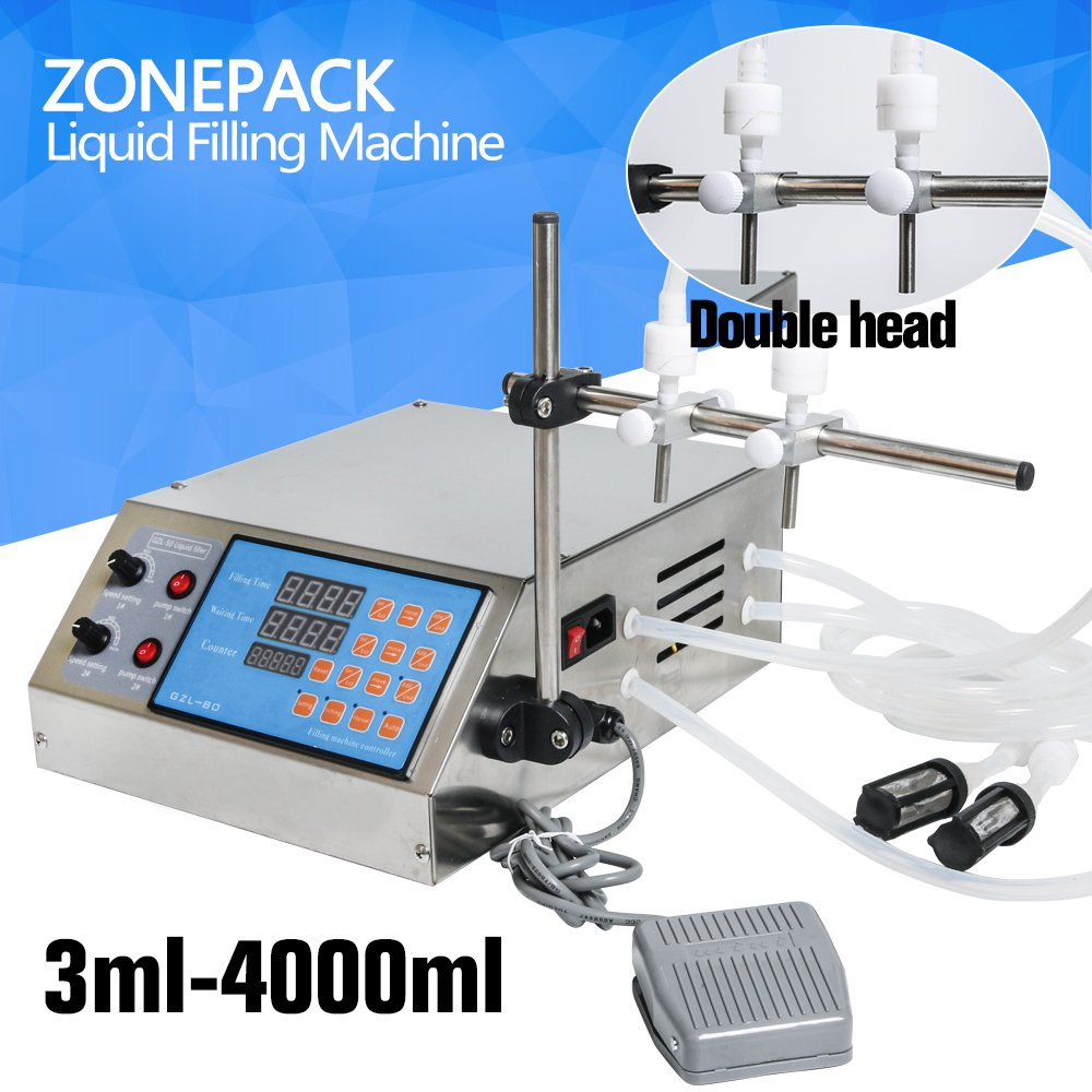 ZONEPACK Electric Liquid Filling Machine Pump Numerical Filler Digital Liquid Filler 0.5-4000ml For Drink Perfume Water Juice Essential Oil With 2 Heads Nozzles