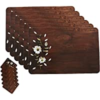 Kuber Industries Wooden Design Floral PVC 6 Piece Dining Table Placemat Set with Tea Coasters - Multicolour (CTKTC02159)