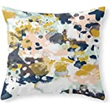 Sloane - Abstract Painting In Modern Fresh Colors Navy, Mint, Blush, Cream, White, And Gold Throw Pillow Indoor Cover (18 x 18) by WAOI