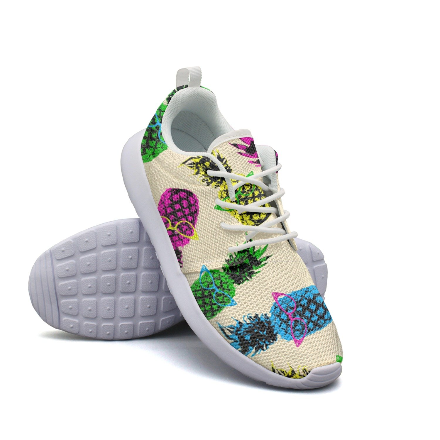 Hipster Style Pineapple Fruit Elements With Vintage Eye Glasses Women Printing Fashion Running Shoes Custom Comfortable