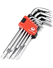 MAXPOWER 9-Piece Torx Key Set - Pro Grade Long Arm 6 Point Star Tools T10, T15, T20, T25, T27, T30, T40, T45, T50