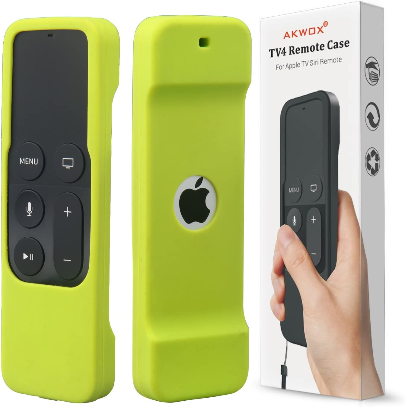 Remote Case for Apple Tv 4th/4K Generation, Akwox Light Weight [Anti Slip] Shock Proof Silicone Remote Cover Case for New Apple Tv 4th/4K Gen Siri Remote Controller with Lanyard (Green)