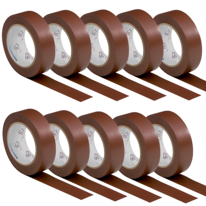 marron 1 rouleau VDE Ruban Isolant /Électrique Bande Isolatrice PVC 15mm x 10 DIN EN 60454-3-1 couleur