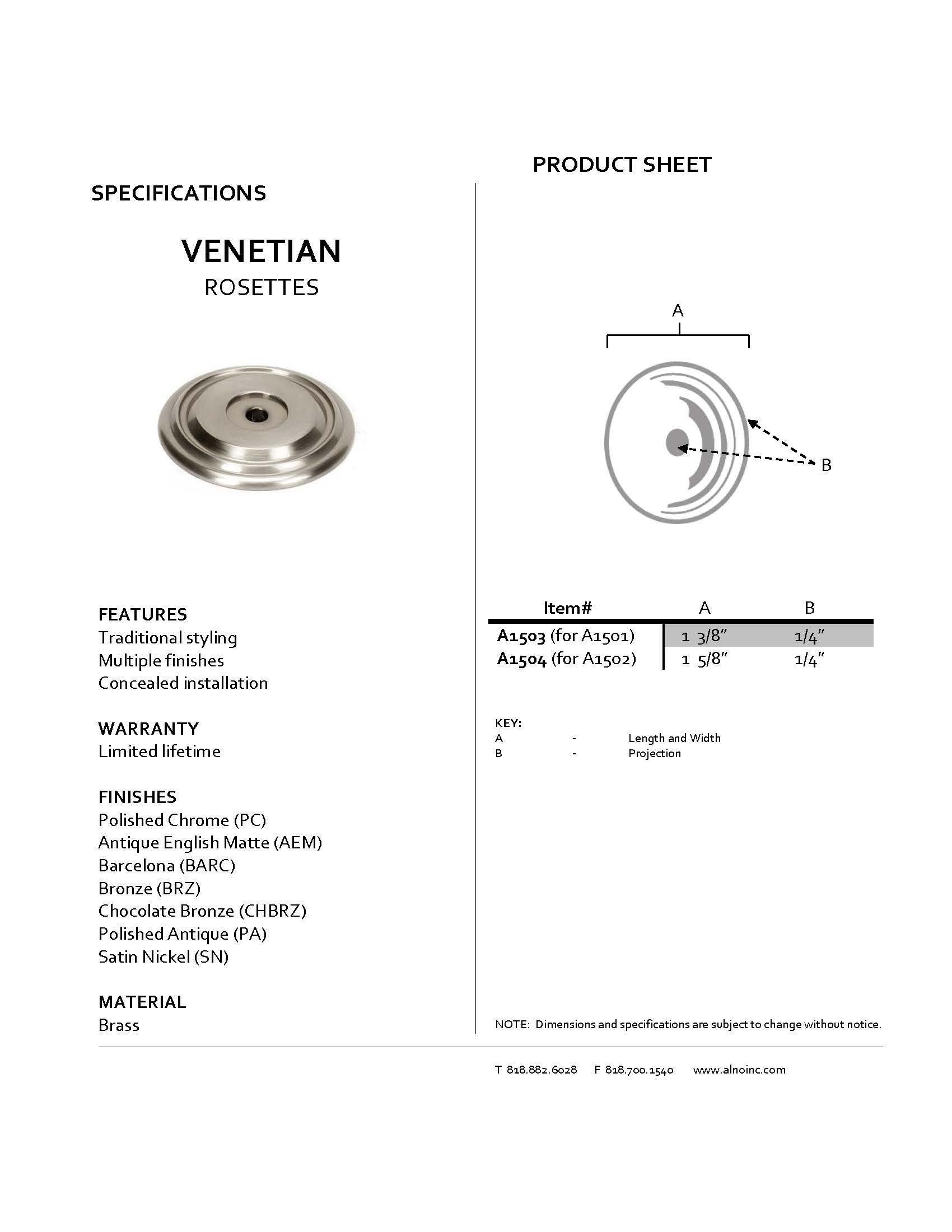 Alno A1504-BARC Traditional Venetian Rosettes, Barcelona, 1-5/8''