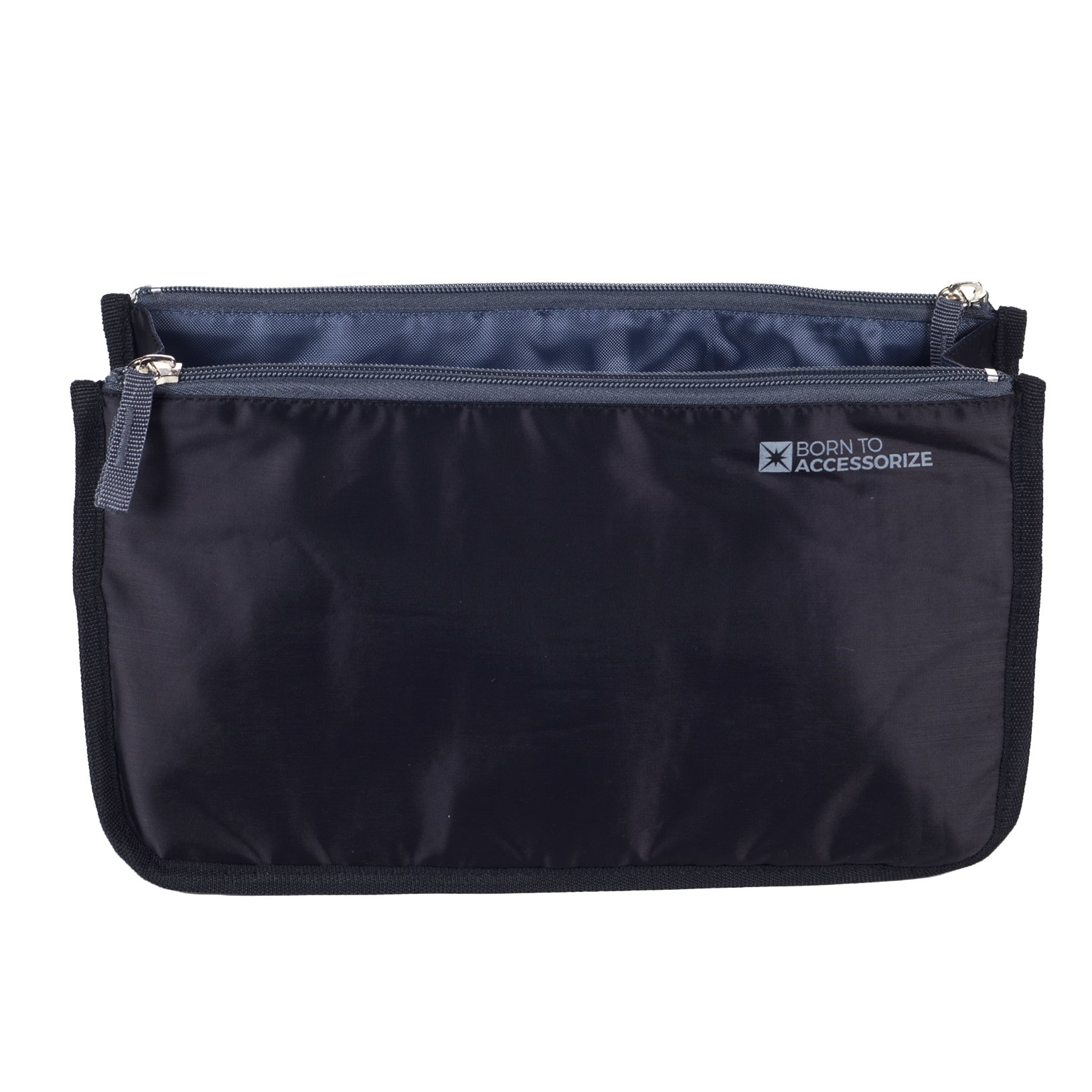Premium Handbag Organizer - Sturdy Non-Collapsible Insert w/13 Pockets for Every Woman's Life Style (Large, Black-White)