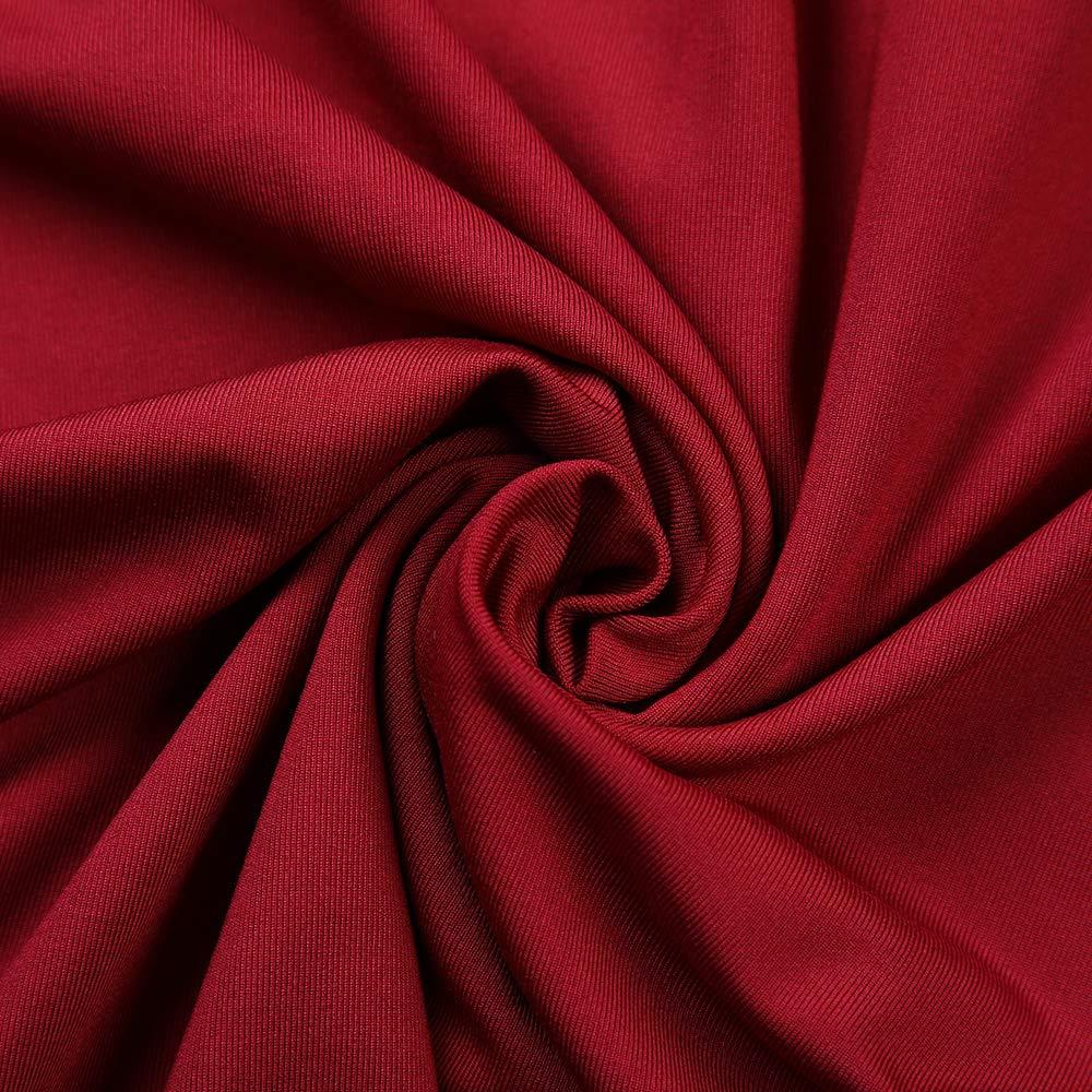 Hopin Robe de soir/ée drap/ée Vintage /él/égante pour Femmes col V et Manches 3//4
