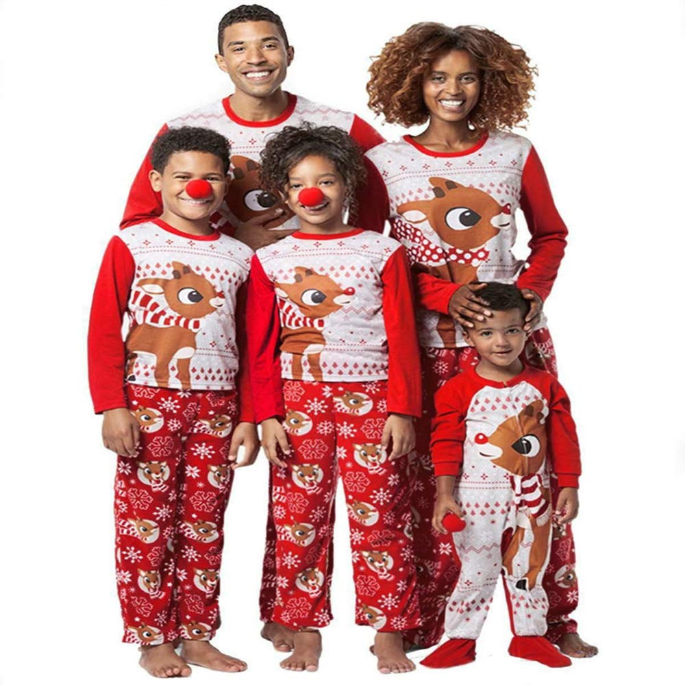 Family Matching Christmas Pajamas Sets Printed Deer Xmas Red Sleepwear Nightwear Youth Union