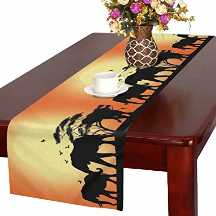 Interestprint Silhouette Of Elephant And Tree At Sunrise In Kenya Table Runner Cotton Linen Home Decor For Wedding Party Banquet Decoration 16 X 72