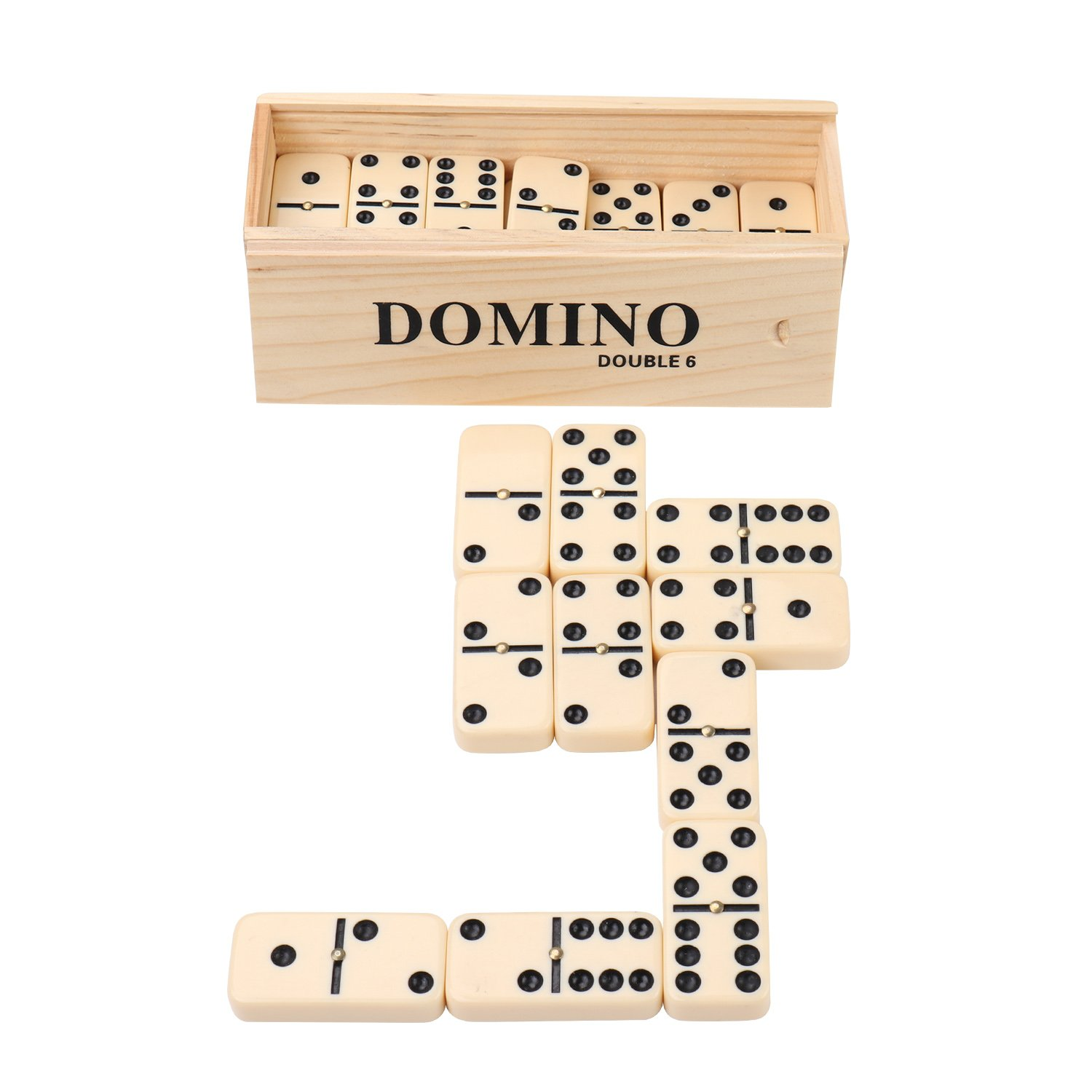 Double 6 Dominoes, KAILE 28 Tiles Dominoes Set for Kids Classical Dominoes with Spinner