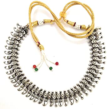 Indian Choker Necklace Set With Earrings Silver Oxidised Tribal Ethnic Jewellery