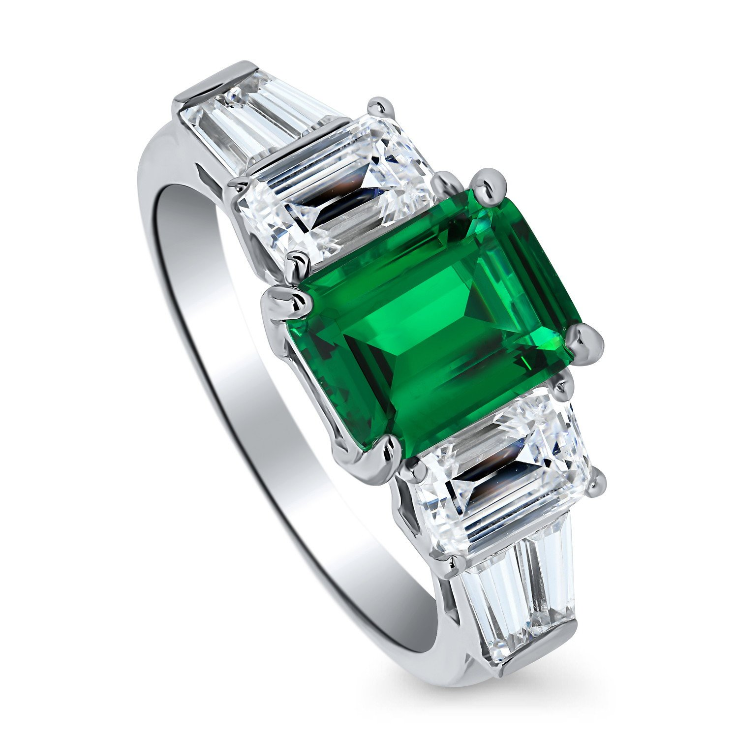 BERRICLE Rhodium Plated Silver Emerald Cut Cubic Zirconia CZ 3-Stone Engagement Ring Size 7