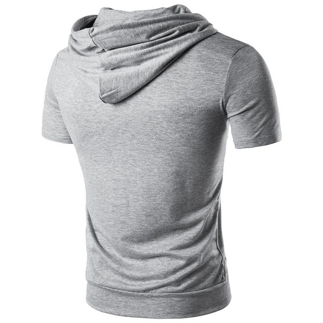 0b0d9cf9d930 Quistal Mens Hoodie Shirt Short Sleeve Pullover Hoodie Sweatshirt Casual  Running T-Shirt Blouse  Amazon.co.uk  Clothing