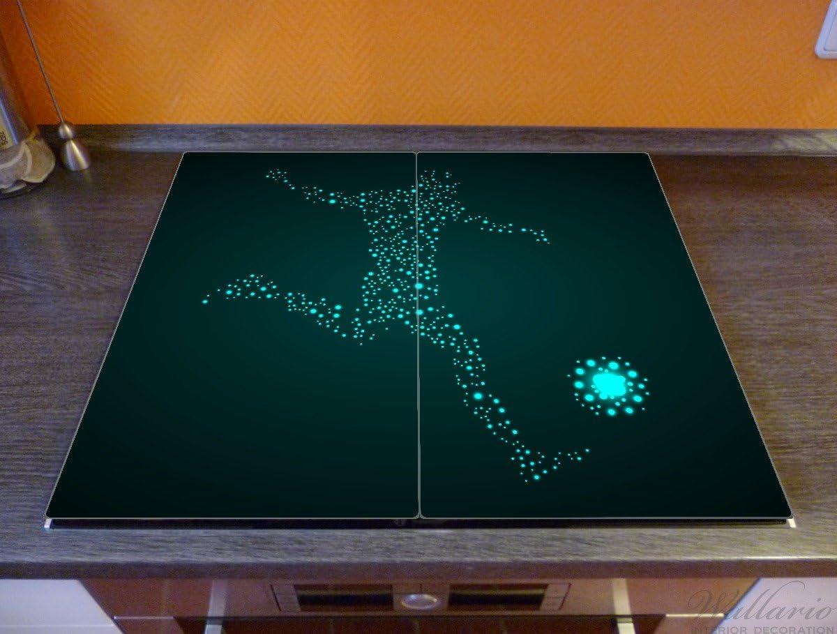 EIN Spieler aus tausend Sternen in t/ürkis Wallario Herdabdeckplatte//Spritzschutz aus Glas 52x60cm Fu/ßball 1-teilig f/ür Ceran- und Induktionsherde