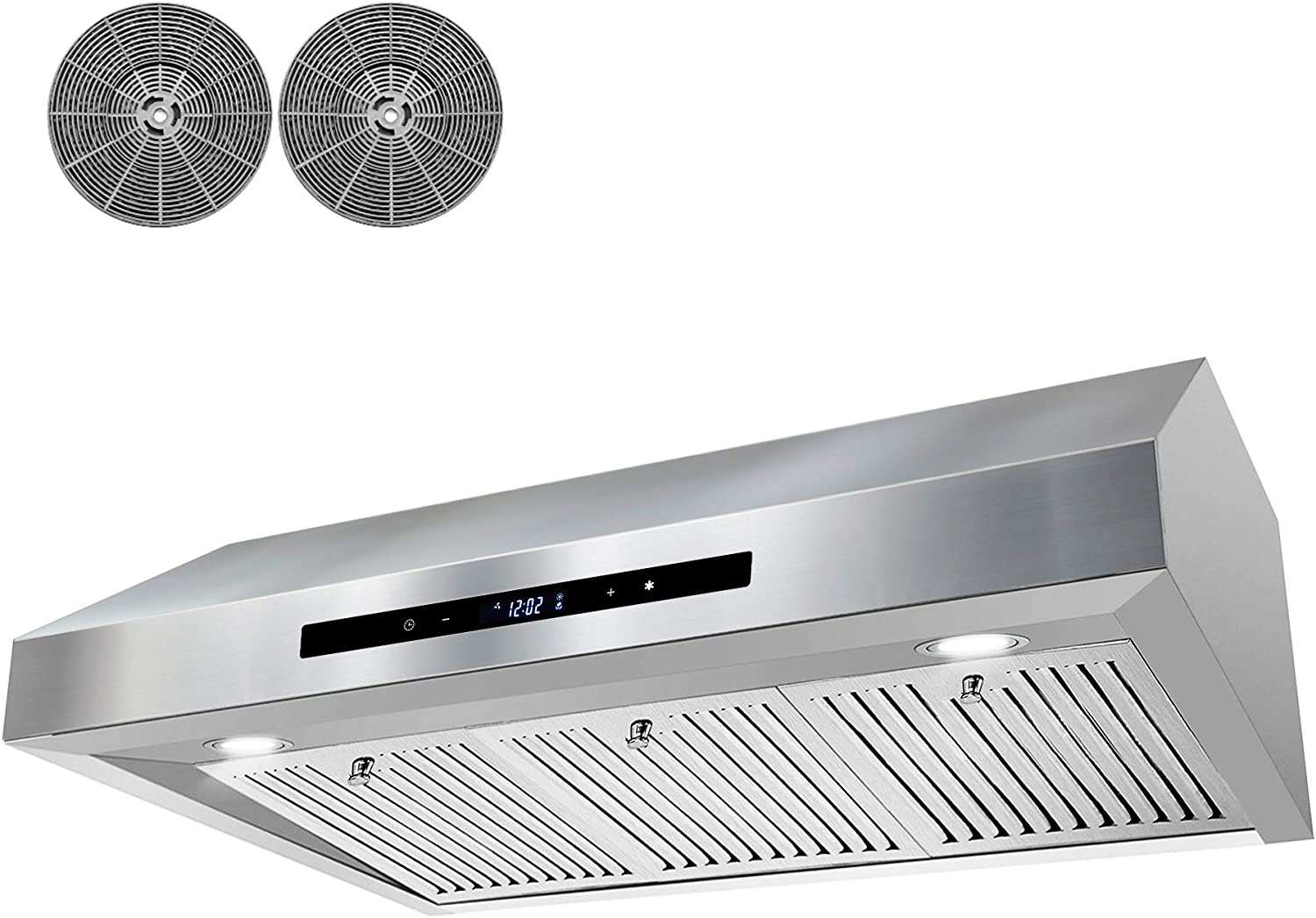 AKDY 350 CFM Ducted Under Cabinet Range Hood in Stainless Steel with Touch Control,LEDs and Carbon Filters 36 in.