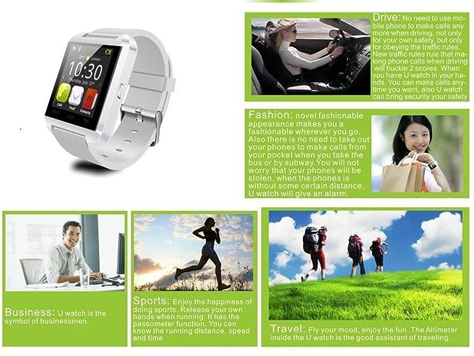 YinoSino U8 Smart Watch / Reloj inteligente U8 / Reloj Bluetooth / Reloj Android / Reloj para la salud con pantalla táctil y cámara, batería de larga ...