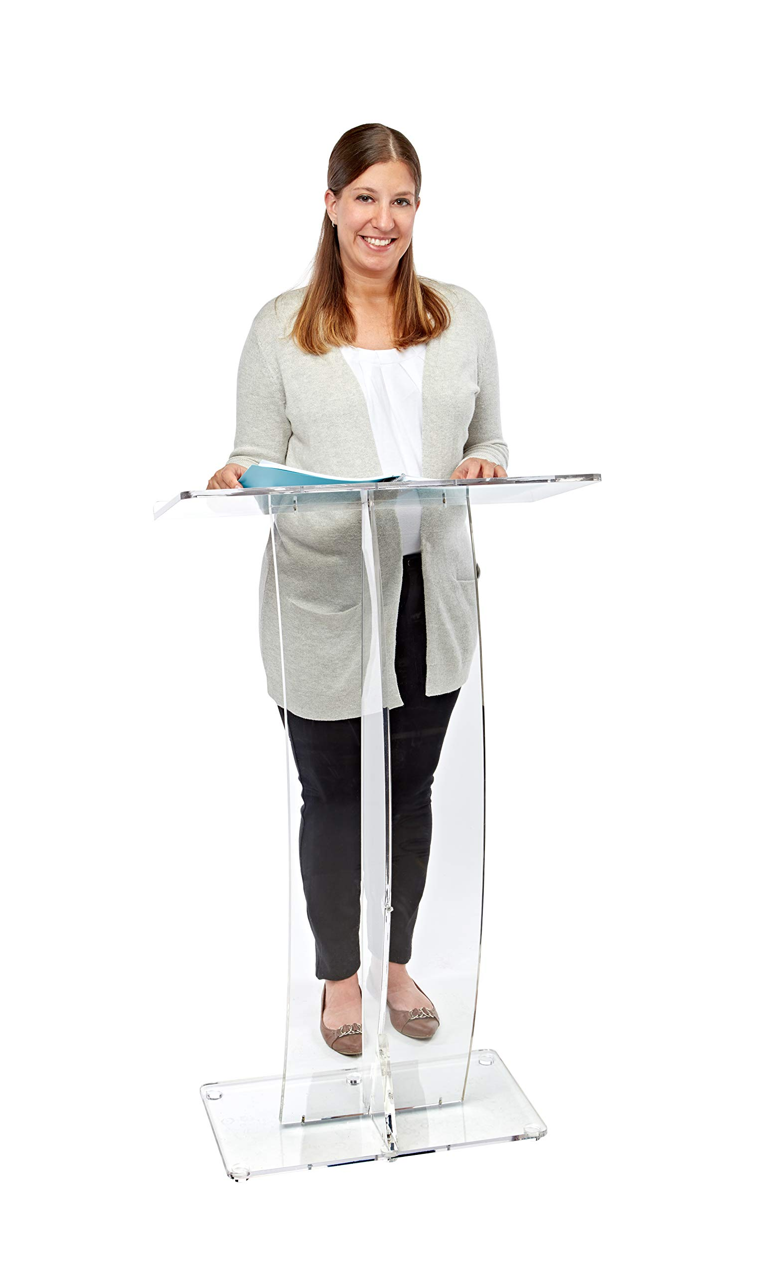 AdirOffice Slanted Speaker's Podium Lectern 12.5'' x 26.8'' x 47 – Easy to Setup Curved Stand Design for Lectures Recitals Speech & Presentations (Clear)