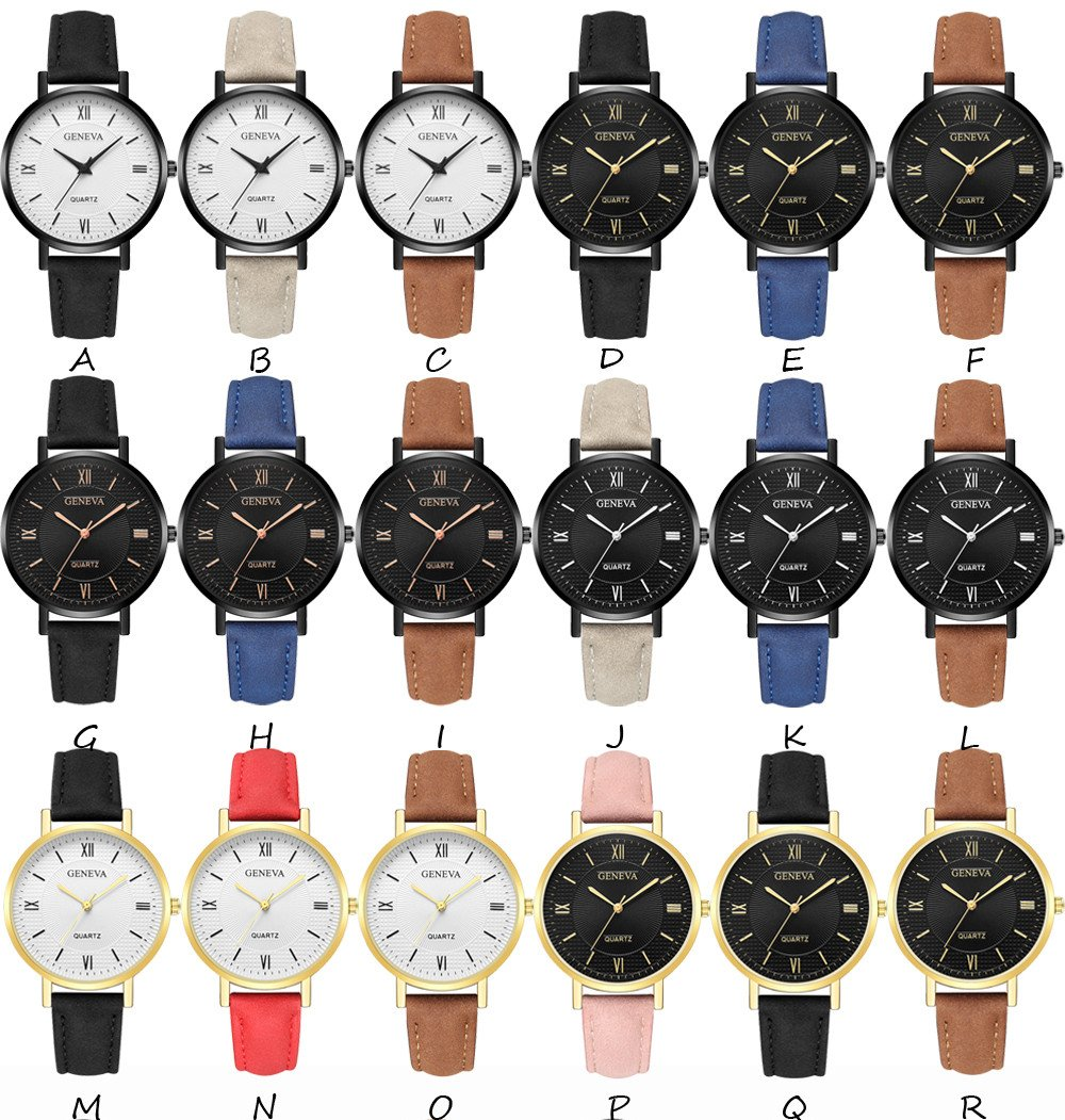 Womens Watches On Sale, VANSOON Ladies Casual Geneva Crystal Stainless Steel Leather Quartz Analog Wrist Watches Analog Teen Girls Dress Simple Luxury Bracelet Watches Gift Clearance by VANSOON Watches (Image #3)