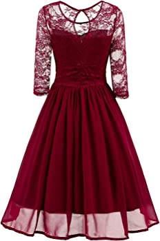 Viloree 1950s Womens Lace 3//4 Sleeve V Neck Prom Cocktail Swing Midi Dress