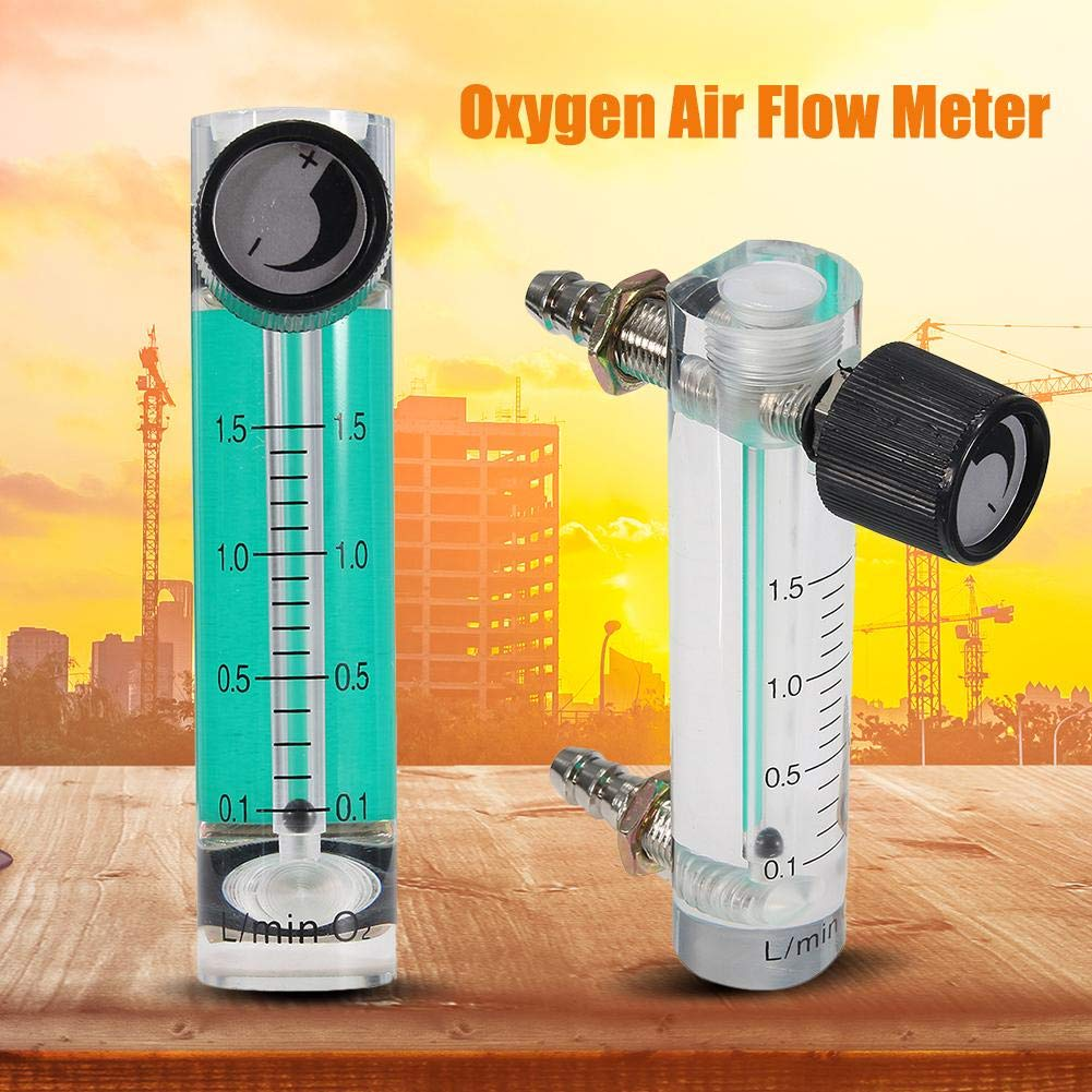Air Flow Meter,0-5L//min 93mm Flow Meter with Control Valve for Oxygen//Air//Gas