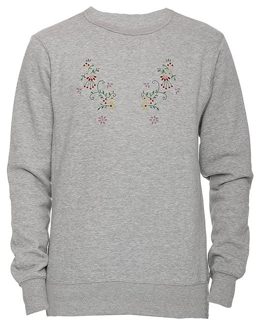 Flores rosadas amarillas rojas Unisexo Hombre Mujer Sudadera Jersey Pullover Gris Todos Los Tamaños Unisex Mens Womens Jumper Sweatshirt Grey All Sizes: ...