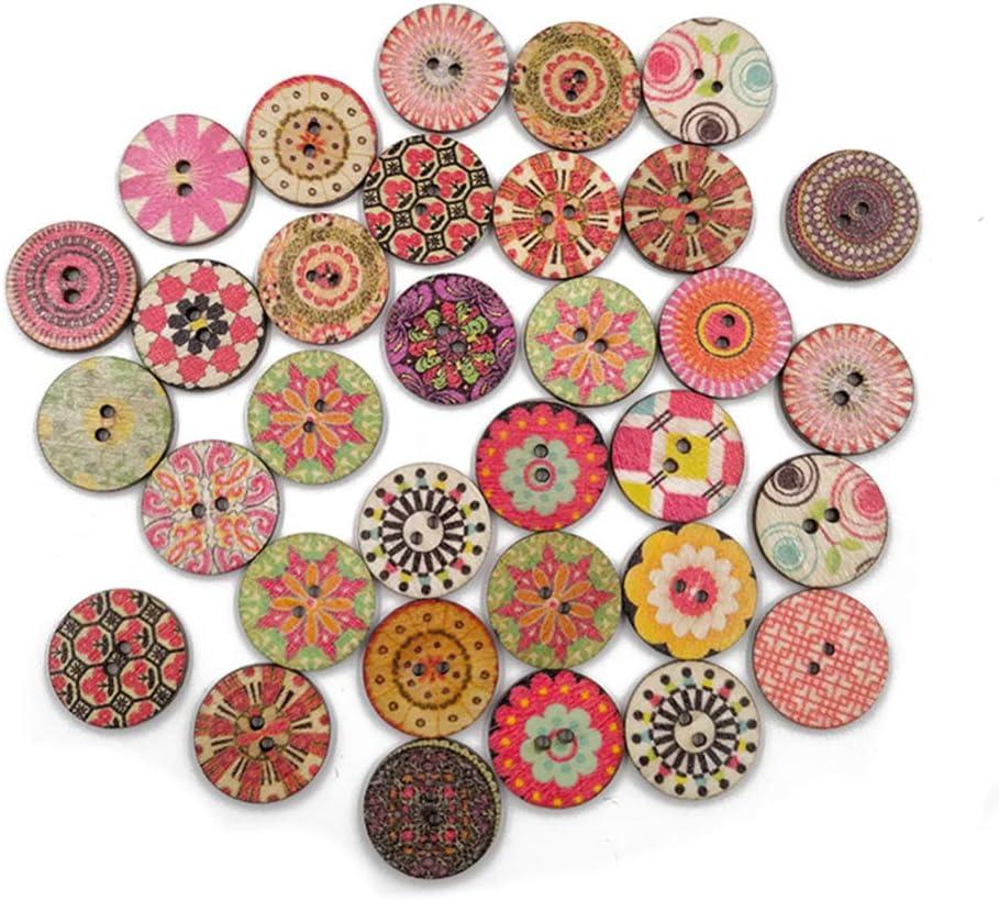 Color y Estilo Aleatorio HEALLILY Botones de Madera Vintage Botones de impresi/ón de Madera Botones de 2 Agujeros Adornos para Manualidades de Scrapbooking DIY 100 Piezas