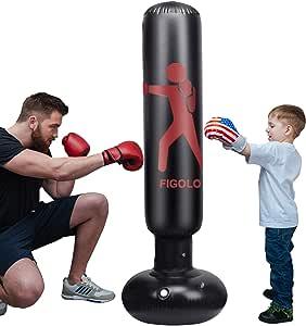 Inflatable Punching Bag for Kids, 63Inch Punching Bag Freestanding Boxing Bag Fitness Punching Bag Column Tumbler Sandbag, for Practicing Karate, Taekwondo, Decompression Kick Training, with Air Pump