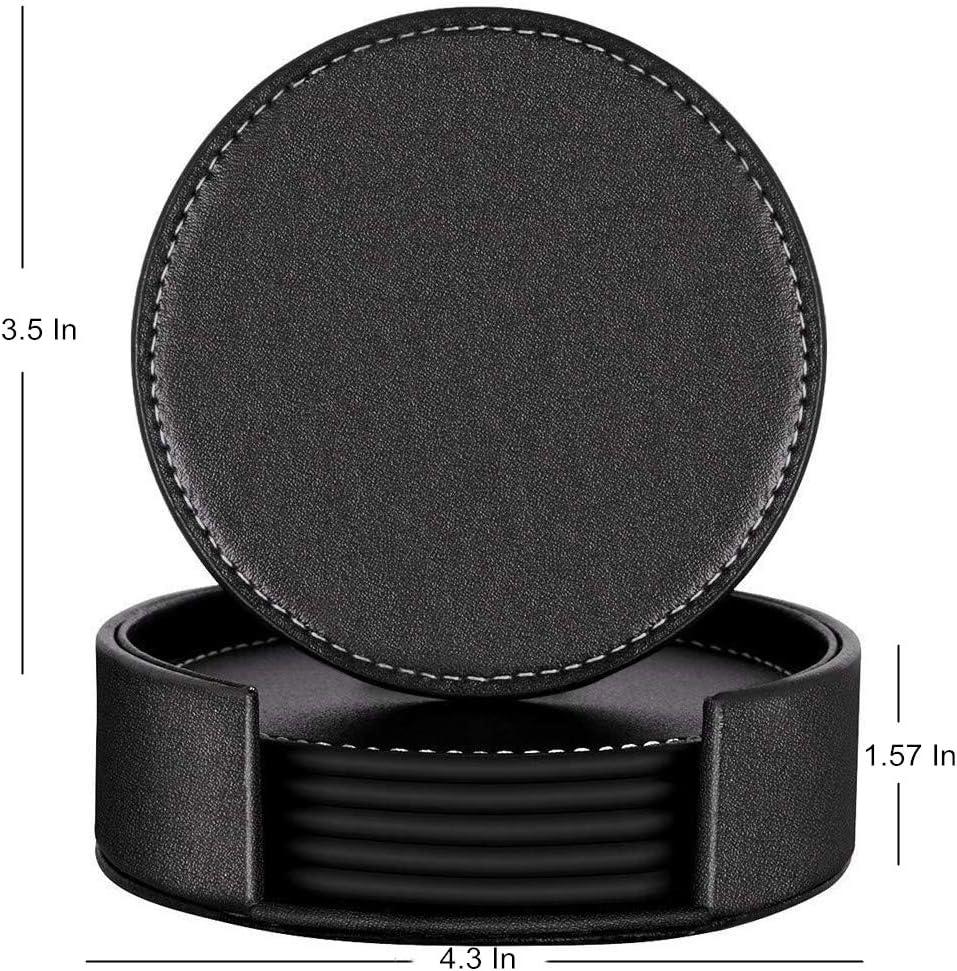 Ruosaren color negro Juego de 6 posavasos 10,16 cm