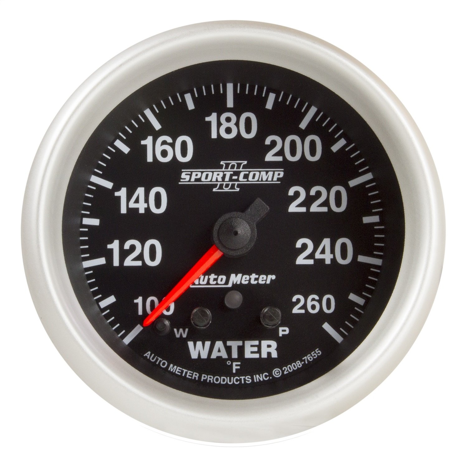 Auto Meter 7655 Sport-Comp II 2-5//8 100-260 Degree F Full Sweep Electric Water Temperature Gauge with Peak Memory and Warning