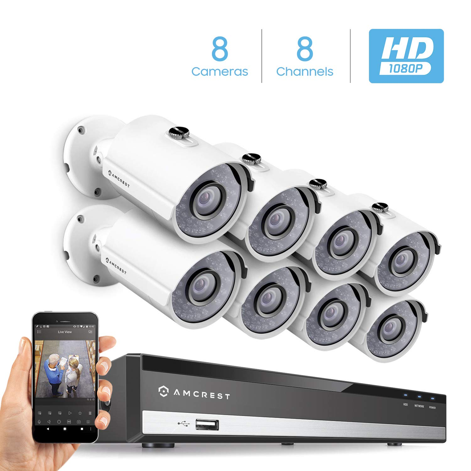 Amcrest Full-HD 1080P 8CH Video Security System w Eight 2.0MP 1920TVL Outdoor IP67 Bullet Cameras, 65ft Night Vision, Hard Drive Not Included, AMDV10818-8B-W