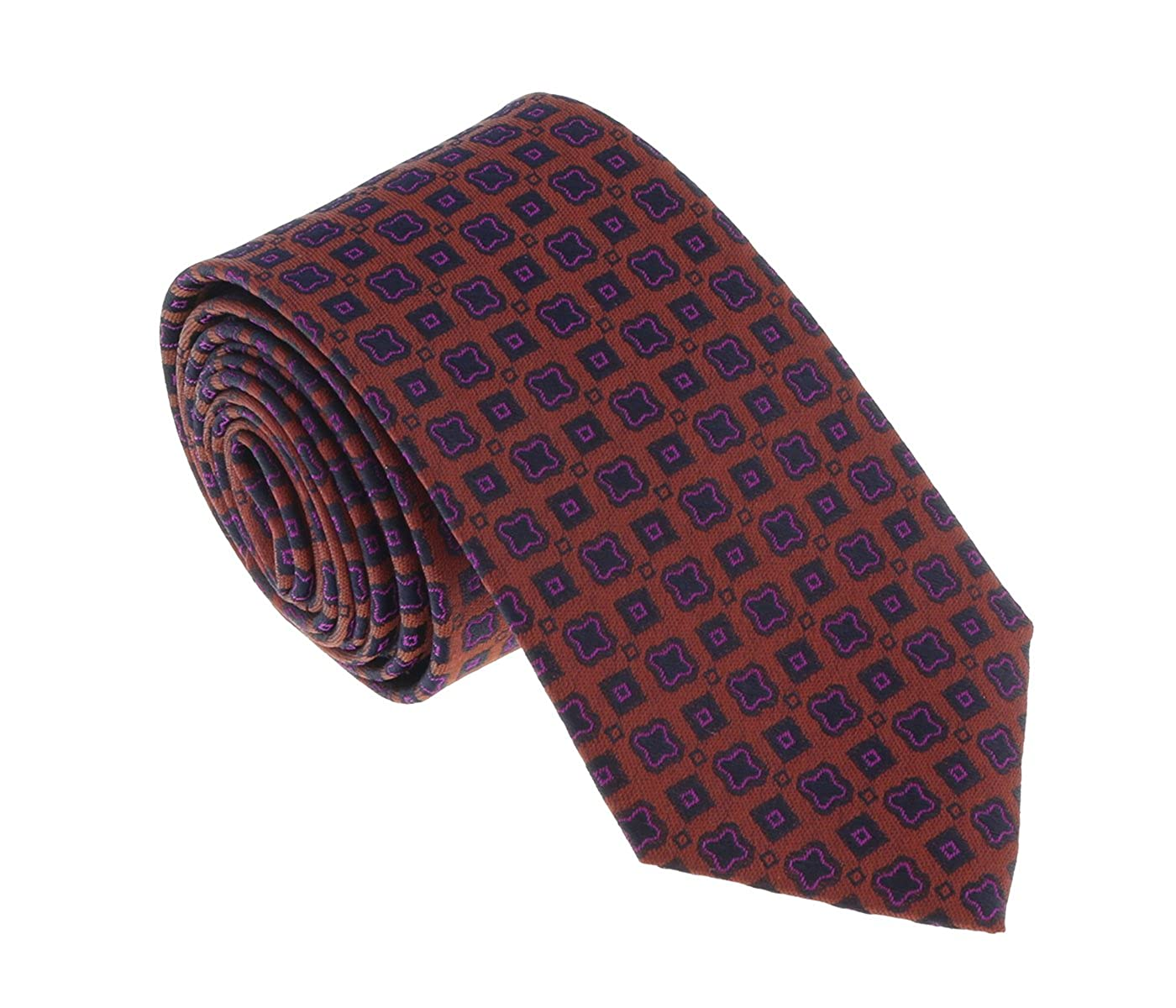 Missoni U5665 Orange//Fuschia Geometric 100/% Silk Tie for mens