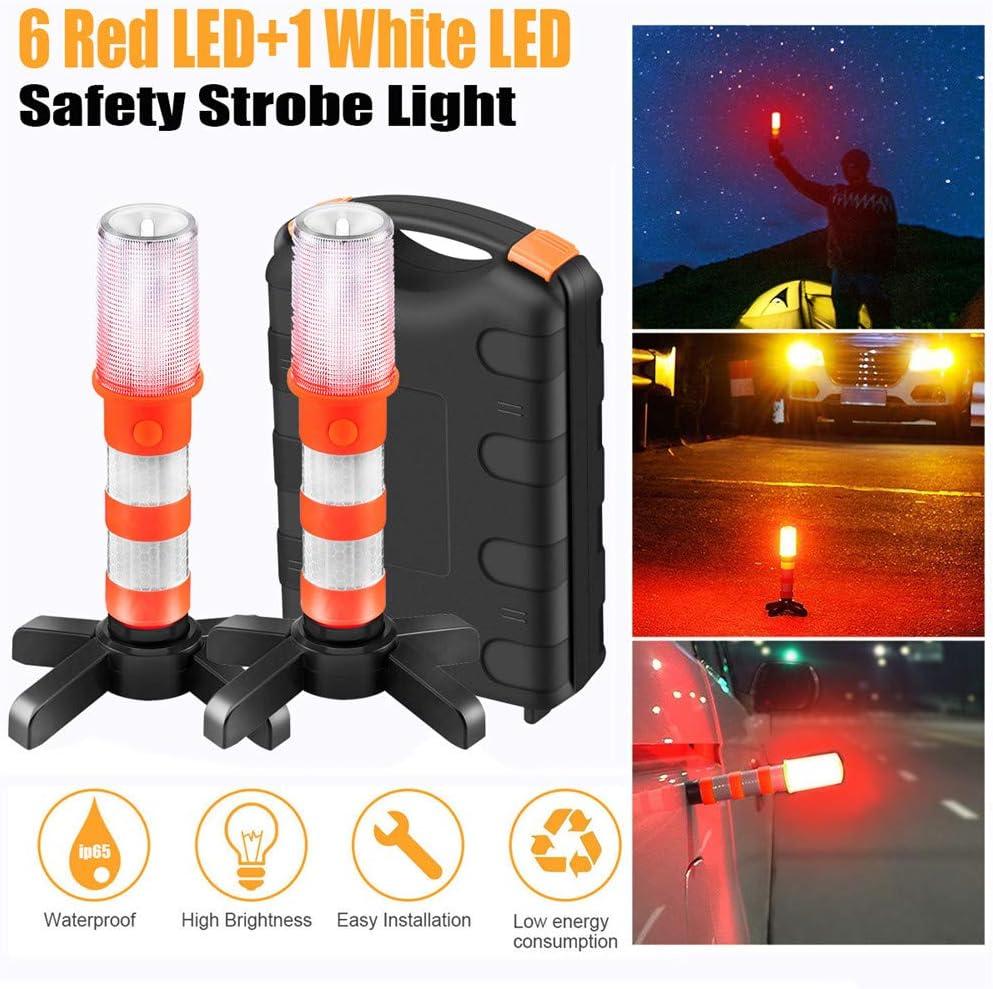 EFINNY Portable LED Emergency Light with Detachable Stand Emergency Baton Roadside Beacon Safety Strobe Light 2 Pcs Pack