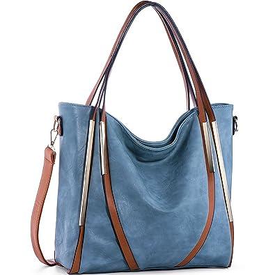 5f0067101fe9 JOYSON Women Handbags Top-Handle PU Leather Tote Shoulder Bags Satchel Purse  for Ladies Blue
