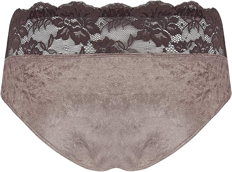 Regular and Plus-Size Viva Voluptuous Womens Brown Nude Velvet Lace Top Panties