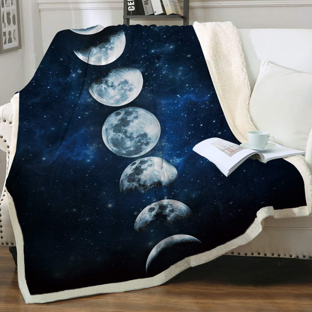Sleepwish Lunar Eclipse Blanket Moon Phases Blanket Celestial Fleece Blanket Dark Blue Sherpa Throw Blanket College Dorm Blanket (60