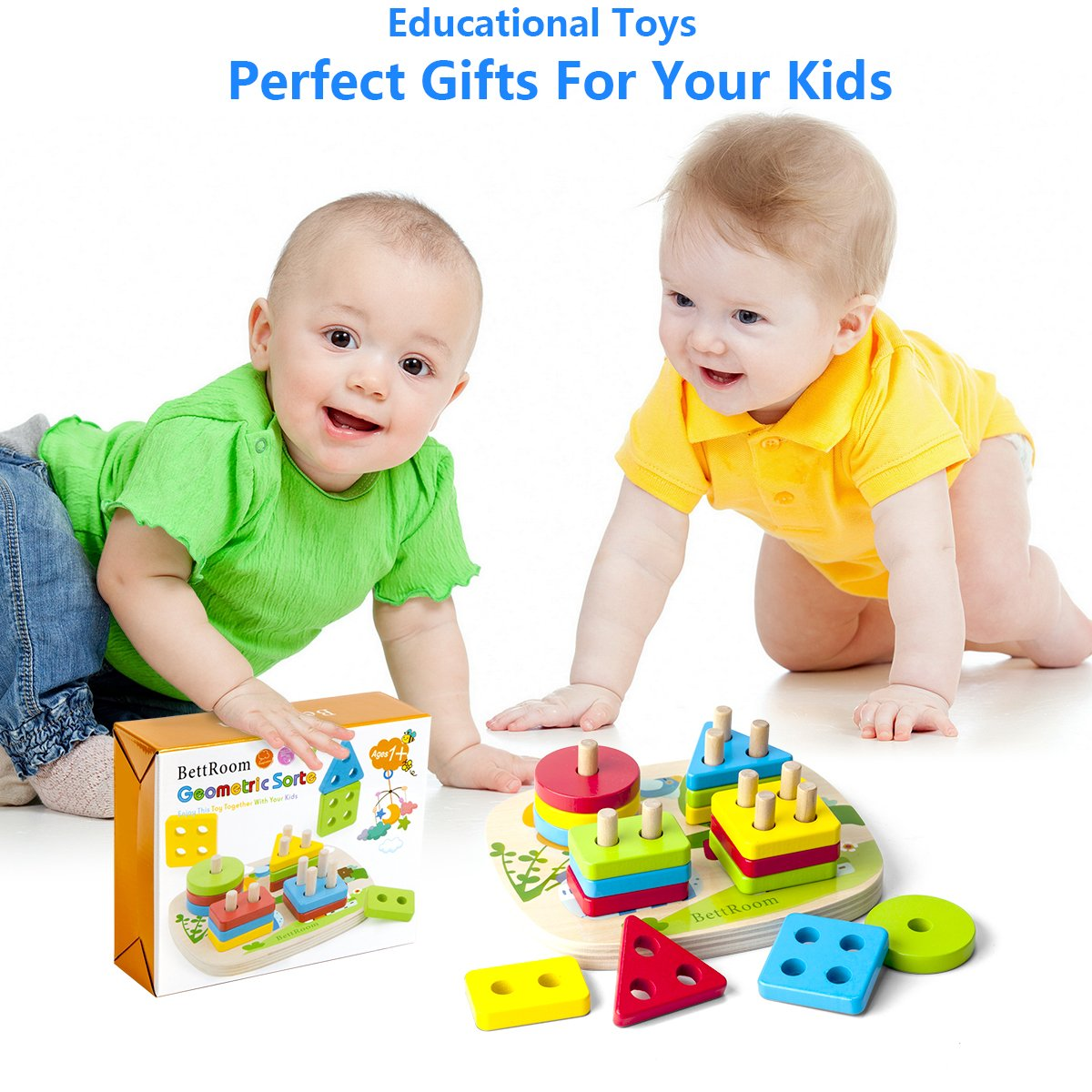 8IN Longquan Bobi Qizhi Toys Co Toddler toys for 1 2 3 4-5 year old boys girls Wooden educational preschool shape color Recognition Geometric Board Blocks Stacking Sort Chunky kids Children Baby NON-TOXIC Bettroom Ltd.
